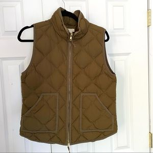 J.Crew Khaki Puffer Jacket Down Vest - Size Med